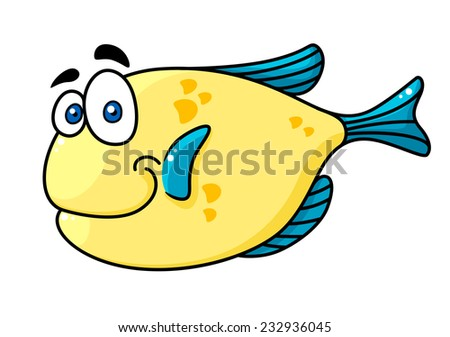 Cartooned yellow and blue smiling fish character with big eyes isolated on white background for fairytale design - stock vector
