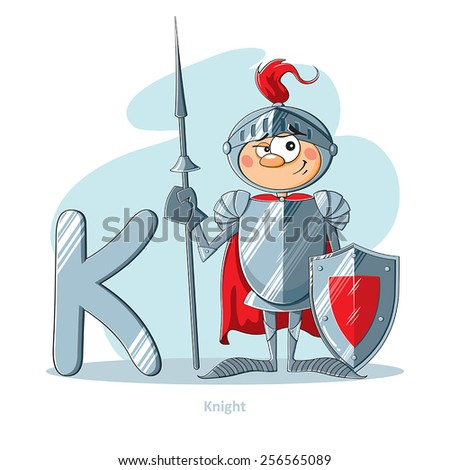 Cartoons Alphabet - Letter K with funny Knight - stock vector