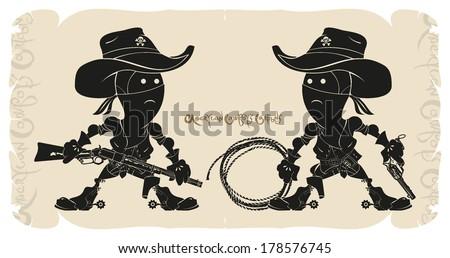 Cartoons. American cowboys, vector - stock vector