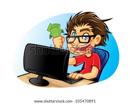 cartoons young people with glasses who are crazy about computers with a mad expression and excessive happy with pleasure gets a commission from online business - stock vector