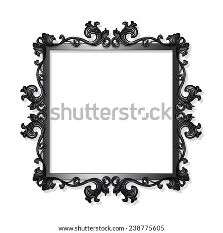carved frame for picture or photo with shadow on white background - stock vector