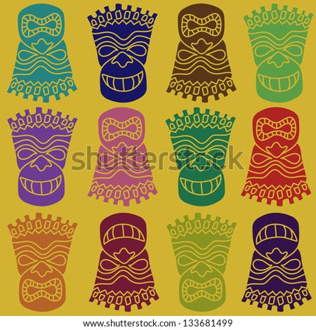 Carved Polynesian Tiki totem seamless pattern - stock vector