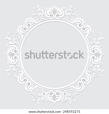 carved vintage frame made of paper for picture or photo with shadow on white background