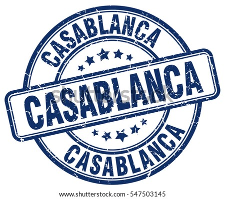Casablanca. stamp. blue round grunge vintage Casablanca sign