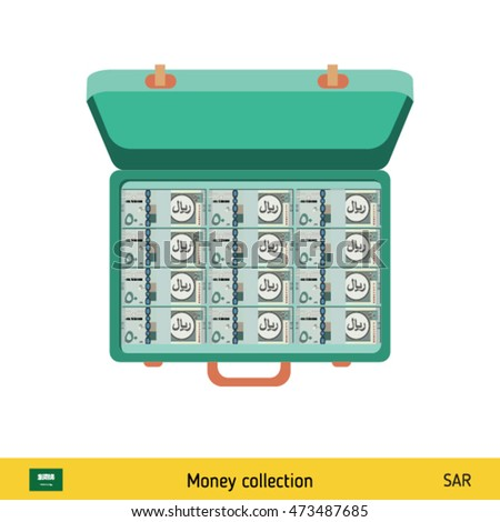 Case full of money on white background. Saudi Arabian riyal banknote. Business concept vector illustration.