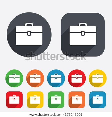 Case sign icon. Briefcase button. Circles and rounded squares 12 buttons. Vector - stock vector