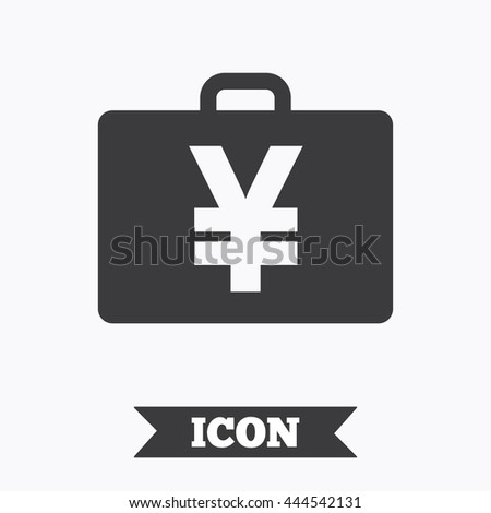 Case with Yen JPY sign icon. Briefcase button. Graphic design element. Flat case symbol on white background. Vector