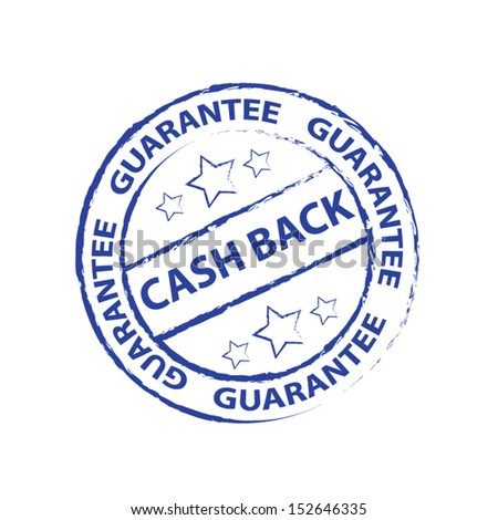 Cash back Rubber stamp, sticker, tag, icon, symbol with blue color, isolated on white background. Vector illustration  - stock vector