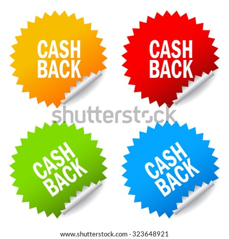 Cash back stickers set isolated on white background - stock vector