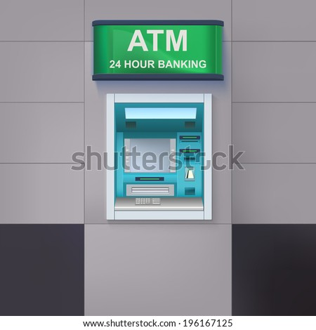 Cash-machine with a sign 24 hour banking, is located on the wall closeup. ATM icon for your design and business.