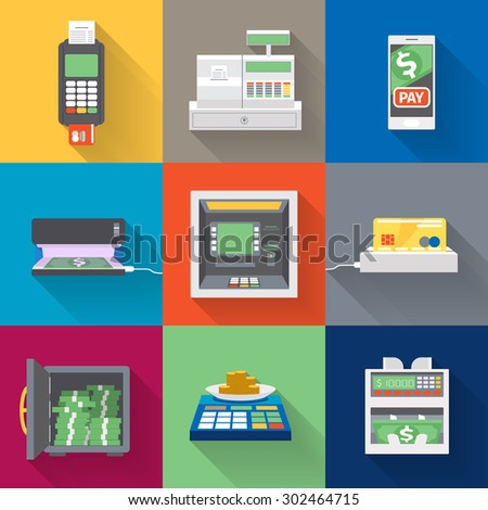 Cash machines icons set in flat style. Money and finance, bank and currency, payment and atm, transaction and credit, vector illustration - stock vector