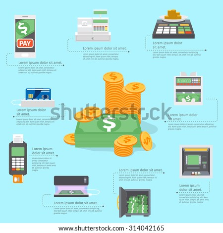 Cash machines infographics. Banking business, card atm payment, credit bank, buy and pay. Vector illustration - stock vector