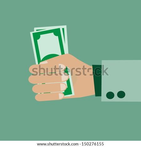 Cash money in people hand - stock vector