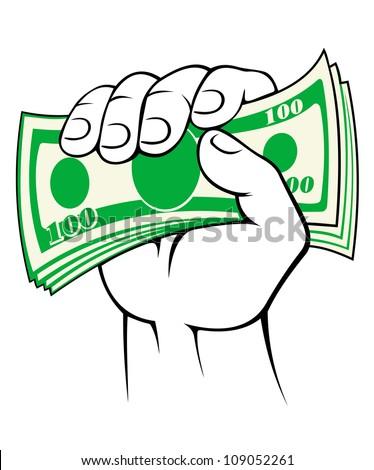 Cash money in people hand. Vector illustration - stock vector