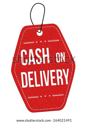 Cash on delivery red leather label or price tag on white background, vector illustration - stock vector