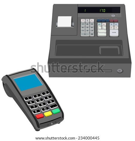 Cash register, pos terminal, credit card terminal, vector isolated on  white - stock vector