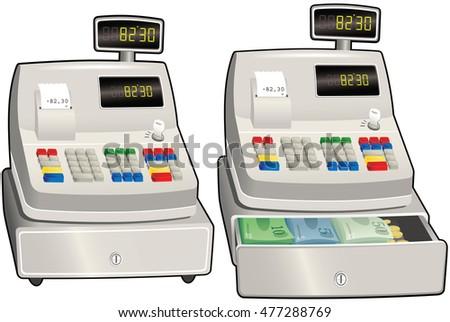 Cash register till.