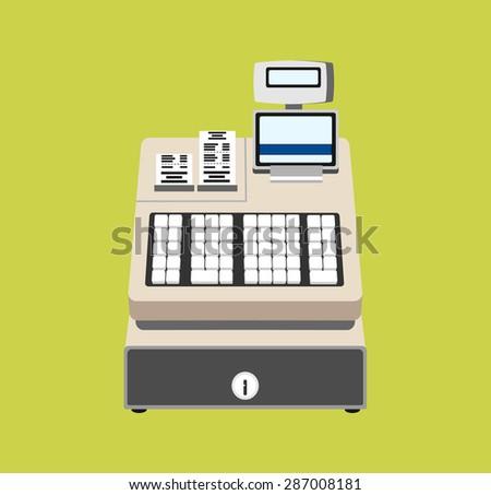 Cash register vector flat illustration - stock vector