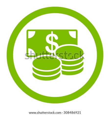 Cash vector icon. This flat rounded symbol uses eco green color and isolated on a white background. - stock vector