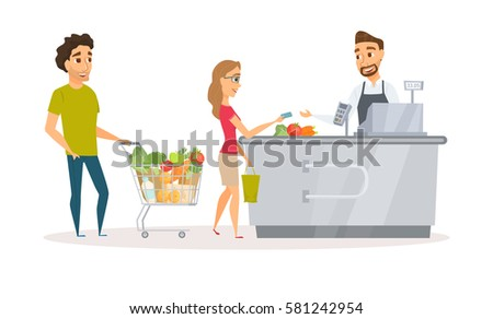 cashier apron buyer pays purchase cash stock vector. Black Bedroom Furniture Sets. Home Design Ideas