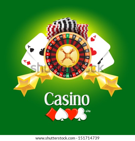 casino american roulette money cards game green background - stock vector