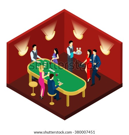 Casino and cards with people champagne and red hall isometric vector illustration  - stock vector