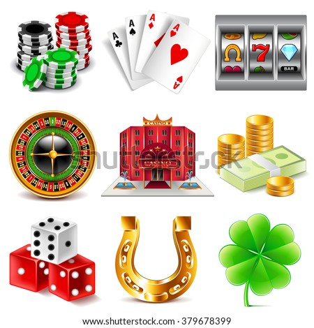 Casino and gambling icons detailed photo realistic vector set - stock vector