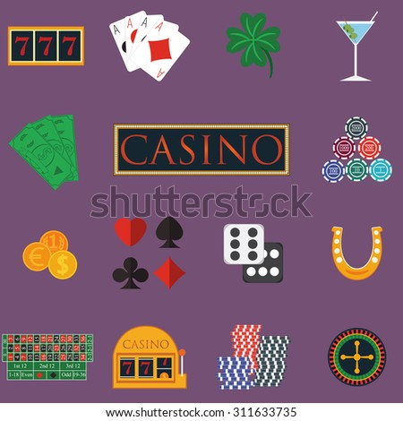 Casino and gambling icons set with slot machine and roulette, chips, poker cards, money, dice, coins, horseshoe flat design vector illustration. - stock vector