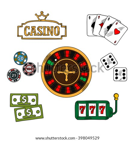 Casino and gambling symbols with money and gambling chips, playing cards with four aces, dice and slot machine, casino golden signboard, topped with crown and roulette