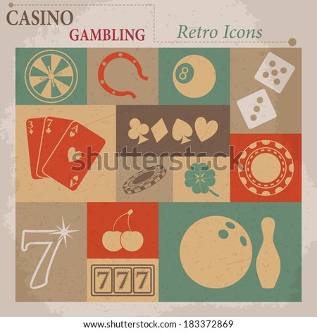 Casino and Gambling Vector Flat Retro Icons - stock vector