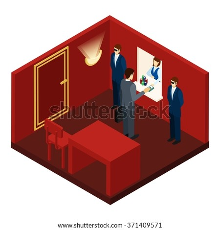 Casino and gambling with exchanging money and chips isometric vector illustration  - stock vector