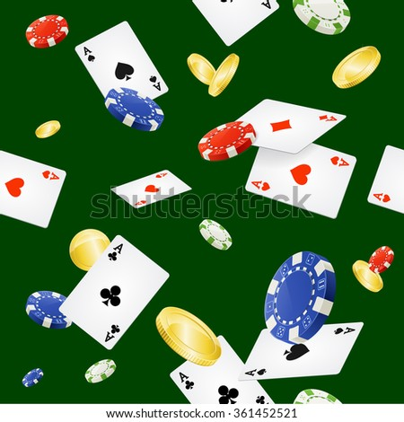 Casino Background Seamless and Gold Coins. Vector illustration - stock vector