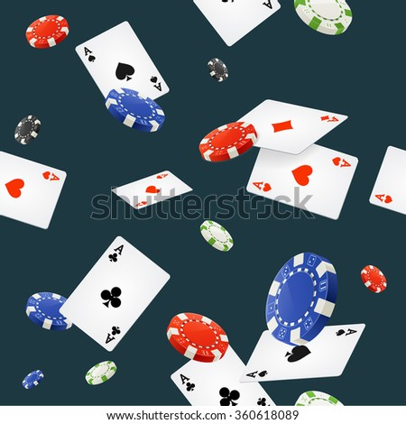 Casino Background Seamless on Dark Blue. Vector illustration - stock vector