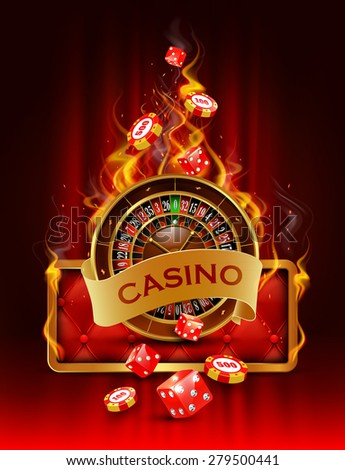 Casino background with cards, chips, craps and roulette on fire. Vector illustration. - stock vector