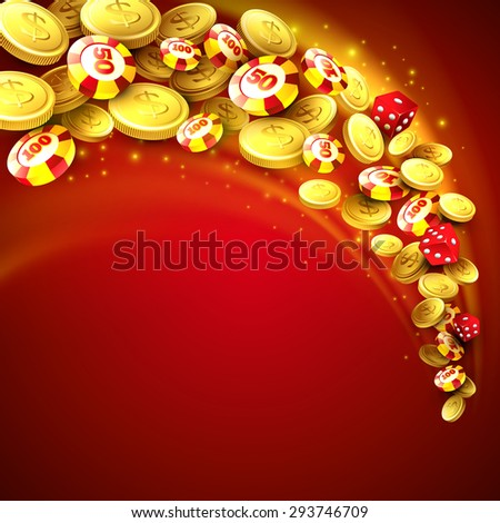 Casino background with chips,craps and money. Vector illustration EPS 10