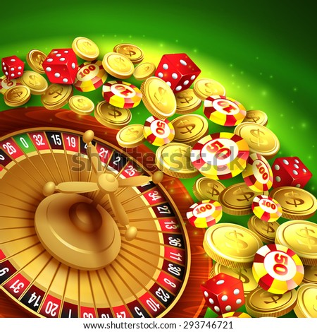 Casino background with chips, craps and roulette. Vector illustration EPS 10 - stock vector