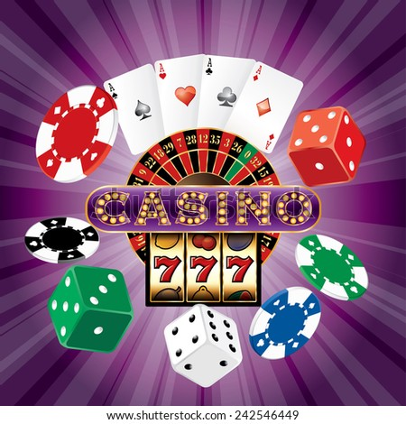 casino background with dices, cards, roulette, slot machine and chips on purple burst - stock vector