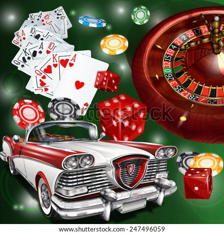 Casino background with retro car. - stock vector