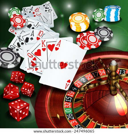 Casino background with roulette,cards, chips and dices. - stock vector
