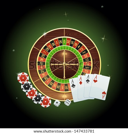 Casino background with roulette, cards, dice and chips