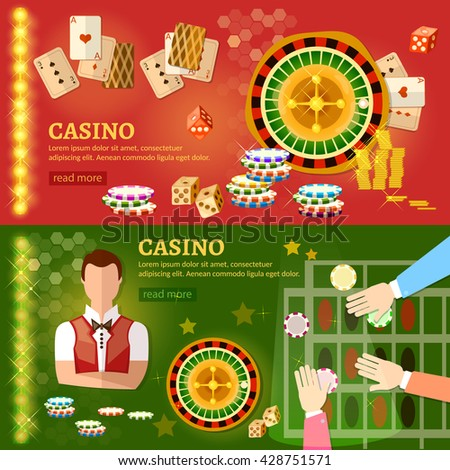Casino banner poker game playing cards roulette gaming house casino games croupier players casino elements vector illustration - stock vector