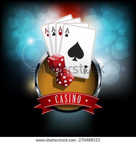 Casino banner with dice and poker cards