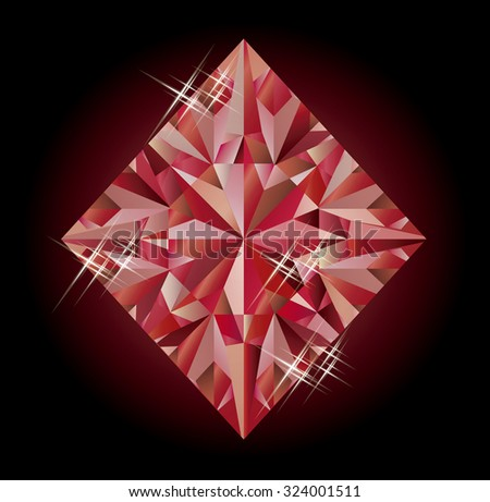 Casino banner with ruby diamonds poker element, vector illustration - stock vector