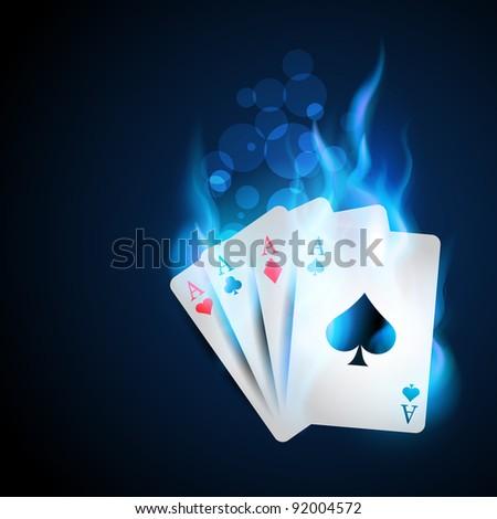 casino blue burning card design - stock vector