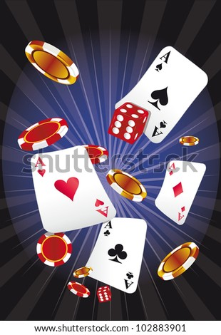 casino by night. A background with playing cards, a dice and gambling chips - stock vector