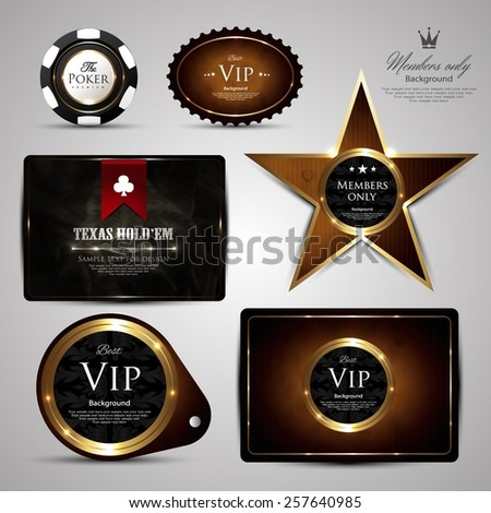 Casino card collection-vintage-elegant-poker-casino-chip-ace-vip - stock vector