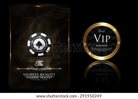 Casino card design, VIP chip, vintage, elegant, gold - stock vector