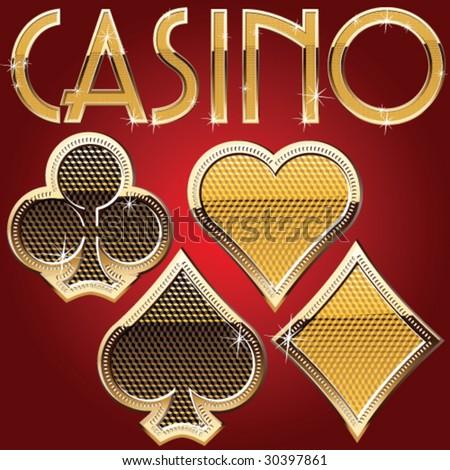 Casino card symbols. Gold style - stock vector