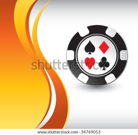 casino chip on vertical wave background