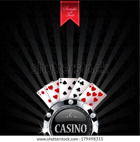 casino chip with cards - stock vector